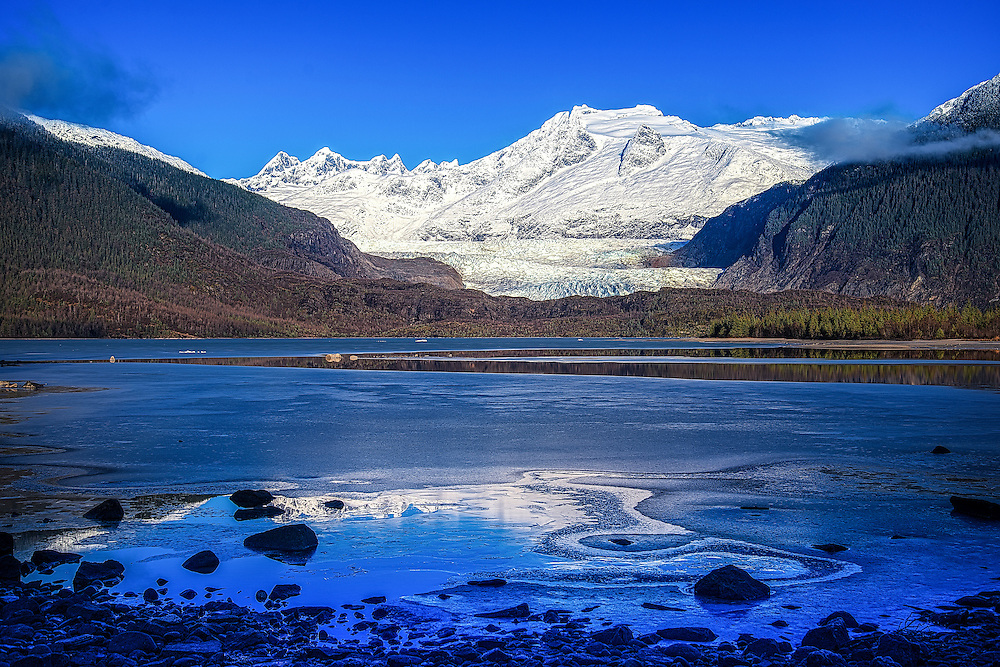 Mendenhall Glacier reflection, Southeast Alaska, Tongass National Forest.