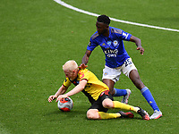 Football - 2019 / 2020 Premier League - Watford vs. Leicester City<br /> <br /> Watford's Will Hughes is fouled by Leicester City's Wilfred Ndidi, at Vicarage Road.<br /> <br /> COLORSPORT/ASHLEY WESTERN