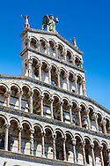 Angled Detail of the 13th century Romanesque facade of the San Michele in Foro,  a Roman Catholic basilica church in Lucca, Tunscany, Italy . .<br /> <br /> Visit our ITALY PHOTO COLLECTION for more   photos of Italy to download or buy as prints https://funkystock.photoshelter.com/gallery-collection/2b-Pictures-Images-of-Italy-Photos-of-Italian-Historic-Landmark-Sites/C0000qxA2zGFjd_k<br /> <br /> If you prefer to buy from our ALAMY PHOTO LIBRARY  Collection visit : https://www.alamy.com/portfolio/paul-williams-funkystock/lucca.html .<br /> <br /> Visit our MEDIEVAL PHOTO COLLECTIONS for more   photos  to download or buy as prints https://funkystock.photoshelter.com/gallery-collection/Medieval-Middle-Ages-Historic-Places-Arcaeological-Sites-Pictures-Images-of/C0000B5ZA54_WD0s