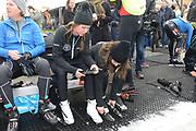 Leden van de koninklijke familie nemen deel aan de tweede editie van De Hollandse 100 op FlevOnice, een sportief evenement van fonds Lymph&Co ter ondersteuning van onderzoek naar lymfeklierkanker. <br /> <br /> Members of the royal family take part in the second edition of the Dutch 100 on FlevOnice, a sporting event Lymph & Co fund to support research into lymphoma.<br /> <br /> Op de foto / On the photo:  Prinses Annette en Rosanna Kluivert