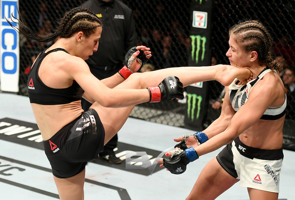 NEW YORK, NY - NOVEMBER 12:  Karolina Kowalkiewicz of Poland (right) fights against Joanna Jedrzejczyk of Poland in their women's strawweight championship bout during the UFC 205 event at Madison Square Garden on November 12, 2016 in New York City.  (Photo by Jeff Bottari/Zuffa LLC/Zuffa LLC via Getty Images)