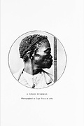 A Grass Bushman Photographed in Cape Town in 1880 From the book '  Specimens of Bushman folklore ' by Bleek, W. H. I. (Wilhelm Heinrich Immanuel), Lloyd, Lucy Catherine, Theal, George McCall, 1837-1919 Published in London by  G. Allen & Company, ltd. in 1911. The San peoples (also Saan), or Bushmen, are members of various Khoe, Tuu, or Kx'a-speaking indigenous hunter-gatherer groups that are the first nations of Southern Africa, and whose territories span Botswana, Namibia, Angola, Zambia, Zimbabwe, Lesotho and South Africa.