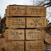 May 02, 2012 - Kauda, Nuba Mountains, South Kordofan, Sudan: A Stack of boxes containing Chinese made ammunitions is on display at Jebel Kwo military base. Sudan People?s Liberation Movement (SPLA-N) rebel fighter claim to have captured this and other ammunition from the Sudan's Armed Forces (SAF) men during recent combats in the rebel-held territory of the Nuba Mountains in South Kordofan. ..SPLA-North, a historical ally of SPLA, South Sudan's former rebel forces, has since last June being fighting the Sudanese Army Forces (SAF) over the right to autonomy and of the end of persecution of Nuba people by the regime of President Bashir. (Paulo Nunes dos Santos/Polaris)