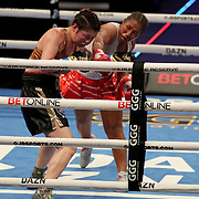 Hyun Mi Choi of South Korea gets caught by a right hand by Calista Silgado of Columbia during the undercard bout of the Gennady Golovkin versus Kamil Szeremeta world title fight at the Seminole Hard Rock Hotel and Casino in Hollywood, Florida USA on 18, Dec 2020. Photo: Alex Menendez