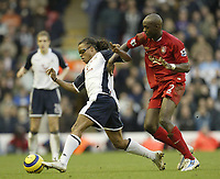 Photo: Aidan Ellis.<br /> Liverpool v Tottenham Hotspur. The Barclays Premiership.<br /> 14/01/2006.<br /> Liverpool's Momo Sissoko challenges Spurs Edgar Davids