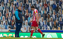 BLACKBURN, ENGLAND - Saturday, January 16, 2021: Stoke City's James Chester looks dejected as he is sent off during the Football League Championship match between Blackburn Rovers FC and Stoke City FC at Ewood Park. The game ended in a 1-1 draw. (Pic by David Rawcliffe/Propaganda)