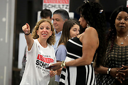 Rep. Debbie Wasserman Schultz (D-Fla.) cheers as election results come in along with campaign volunteers, local candidates, and elected officials, at her campaign's headquarters in Davie, Fla., on Tuesday, Nov. 6, 2018. Photo by Mike Stocker/Sun Sentinel/TNS/ABACAPRESS.COM