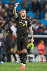 Manchester City's Kyle Walker celebrates the victory during the UEFA Champions League round of 16 first leg match Real Madrid v Manchester City at Santiago Bernabeu stadium on February 26, 2020 in Madrid, Sdpain. Real was defeated 1-2. Photo by David Jar/AlterPhotos/ABACAPRESS.COM