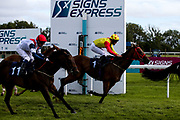 Amberine ridden by Charlie Bennett and trained by Malcolm Saunders and Spirit Of Ishy ridden by Martin Dwyer and trained by Stuart Kittow in the Visitbath.co.uk Classified Stakes- Mandatory by-line: Robbie Stephenson/JMP - 18/07/2020 - HORSE RACING- Bath Racecourse - Bath, England - Bath Races 18/07/20