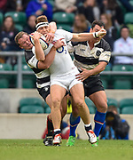 England wing Alex Lewington (London Irish) is taken high by Barbarians hooker Deon Fourie (Lyon) and flanker George Smith (Lyon & Australia) during the International Rugby Union match England XV -V- Barbarians at Twickenham Stadium, London, Greater London, England on May  31  2015. (Steve Flynn/Image of Sport)