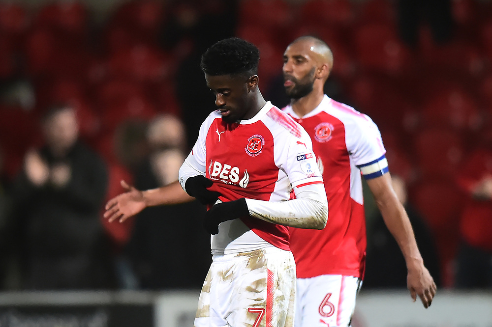 Fleetwood Town's Jordy Hiwula reacts at he end of the match<br /> <br /> Photographer Richard Martin-Roberts/CameraSport<br /> <br /> The EFL Sky Bet League One - Fleetwood Town v Gillingham - Friday 22nd December 2017 - Highbury Stadium - Fleetwood<br /> <br /> World Copyright © 2017 CameraSport. All rights reserved. 43 Linden Ave. Countesthorpe. Leicester. England. LE8 5PG - Tel: +44 (0) 116 277 4147 - admin@camerasport.com - www.camerasport.com