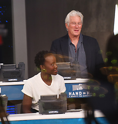 "Celebrities at the ""Hand to hand"" telethon in Times square, New York City. 12 Sep 2017 Pictured: Lupita Nyong'o, Richard Gere. Photo credit: MEGA TheMegaAgency.com +1 888 505 6342"