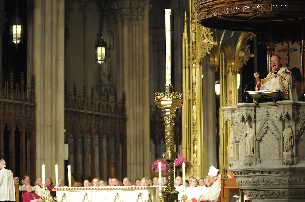 Archbishop Timothy M. Dolan gives his homily during a prayer service, Tuesday April 14 2009.
