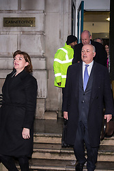 London, UK. 4th February, 2019. Conservative MPs Nicky Morgan, Iain Duncan Smith and Damian Green leave the Cabinet Office with other members of the 'Alternative Arrangements Working Group', a group of Conservative Remainer and Leaver MPs which supported the 'Malthouse Compromise', following a meeting with Brexit Secretary Stephen Barclay.