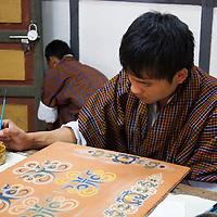 Asia, Bhutan, Thimpu. Bhutanese Painting Student.
