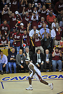 Cleveland fans celebrate with LeBron James of Cleveland..The Cleveland Cavaliers defeated the Boston Celtics 88-77 in Game 4 of the Eastern Conference Semi-Finals at Quicken Loans Arena in Cleveland.