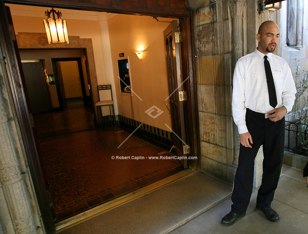 Allan Botello, doorman at 444 Central Park West may be going on strike tonight as the doorman union plans a 12AM deadline for a new contract. April 20, 2006. .