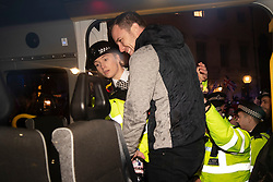 © Licensed to London News Pictures. 14/01/2019. London, UK. Far right protest leader Danny Tommo is detained by police outside Parliament as MPs vote on British Prime Minster Theresa May's proposed withdrawal agreement with the European Union. Photo credit: Peter Macdiarmid/LNP
