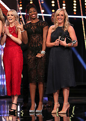 England Netball head coach Tracey Neville (right) on stage after England Netball win the Team of the Year Award during the BBC Sports Personality of the Year 2018 at Birmingham Genting Arena.