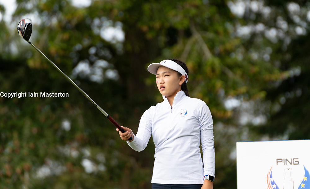 Auchterarder, Scotland, UK. 10 September 2019. Day one of the Junior Solheim Cup 2019 at the Centenary Course at Gleneagles. Tuesday Morning Foursomes. Pictured Lucy Li of USA. Iain Masterton/Alamy Live News