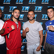Toka Kahn Clary, Julian Rodriguez, Christopher Diaz and Jean Carlos Rivera during weigh ins for the Top Rank boxing event at Osceola Heritage Park in Kissimmee, Florida on September 21, 2016.