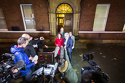 © Licensed to London News Pictures. 22/11/2017. Wakefield, UK. Kerry Maguire (daughter of Ann Maguire) & her father Don Maguire (husband of Ann Maguire speak to media after a jury reached a verdict of unlawful killing at Wakefield Coroners Court today. Mrs Maguire, a 61 year old Spanish teacher, was stabbed to death by Will Cornick at Corpus Christi Catholic College in Leeds in April 2014. The school pupil, who was 15 at the time, admitted murdering Mrs Maguire and was given a life sentence later that year. Since then, some of Mrs Maguire's family have campaigned for further investigation into her death as they believe more could have been done to prevent the tragedy. Photo credit: Andrew McCaren/LNP