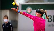 Katarina Zavatska of Ukraine in action during the first round at the Roland Garros 2020, Grand Slam tennis tournament, on September 28, 2020 at Roland Garros stadium in Paris, France - Photo Rob Prange / Spain ProSportsImages / DPPI / ProSportsImages / DPPI