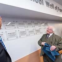 President Higgins unveiling his tile on the school Wall of Fame during his visit to Kinsale Community School.<br /> Picture. John Allen