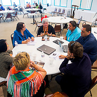 """080613       Brian Leddy<br /> Members of the World Indigenous Nations Higher Education Consortium  board discuss topics for their publication, called """"Research Journal"""" during a meeting at Navajo Technical University Tuesday morning. The group met for it's annual meeting Monday and Tuesday this week."""