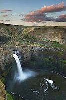 Palouse Falls plunging over layered basalt flows of the Columbia Plateau Washington