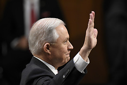 June 13, 2017 - Washington D.C, United States - Attorney General Jeff Sessions is sworn in before a witness testimony at a U.S. Senate Intelligence Committee hearing on Russian interference with U.S. elections in Washington, Tuesday, June 13, 2017. (Credit Image: © Sait Serkan Gurbuz/Depo Photos via ZUMA Wire)
