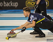 """Glasgow. SCOTLAND.  Scotland's, Ross PATERSON, guiding his """"Stone towards the Hog Line, during a  """"Round Robin"""" Game. Le Gruyère European Curling Championships. 2016 Venue, Braehead  Scotland<br /> Tuesday  22/11/2016<br /> <br /> [Mandatory Credit; Peter Spurrier/Intersport-images]"""