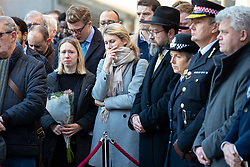 © Licensed to London News Pictures. 02/12/2019. London, UK. People attend a vigil at Guildhall Yard following a terrorist attack on London Bridge in which two people were killed. The attacker was shot by police firearms officers and pronounced dead at the scene. Photo credit: Rob Pinney/LNP