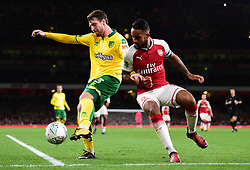 James Husband of Norwich City in action with Theo Walcott of Arsenal - Mandatory by-line: Alex James/JMP - 24/10/2017 - FOOTBALL - Emirates Stadium - London, England - Arsenal v Norwich City - Carabao Cup