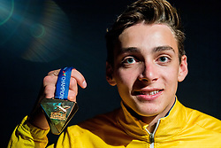 August 13, 2018 - Berlin, GERMANY - 180813 Armand Duplantis of Sweden poses with his gold medal at a closing party after the men's pole vault final during the European Athletics Championships on August 13, 2018 in Berlin..Photo: Vegard Wivestad GrÂ¿tt / BILDBYRN / kod VG / 170208 (Credit Image: © Vegard Wivestad Gr¯Tt/Bildbyran via ZUMA Press)