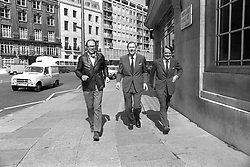 File photo dated 06-05-1974 of Roger Bannister (centre), the world's first sub-four minute miler, and two of the men who helped pace him when he achieved the feat 20 years ago today, Chris Brasher (left) and Christopher Chataway.