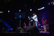 Beres Hammond in an exuberant kick at The Biolife Sounds of Reggae at the Barclays Center.