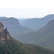 The view out over the Blue Mountains near Blackheath, New South Wales, Australia, from George Phillips Lookout. Phillips was secretary of the Blackheath Group of the Blue Mountains Sights Reserves Trust from 1917 to 1939.