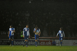 Bristol Rovers' players cut a dejected figure - Photo mandatory by-line: Dougie Allward/JMP - Tel: Mobile: 07966 386802 14/12/2013 - SPORT - Football - Morecombe - Globe Arena - Morecombe v Bristol Rovers - Sky Bet League Two