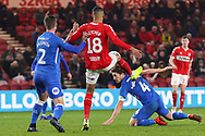 Middlesbrough forward Ashley Fletcher (18) scores his team's fifth goal during The FA Cup 3rd round match between Middlesbrough and Peterborough United at the Riverside Stadium, Middlesbrough, England on 5 January 2019.