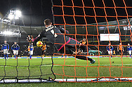 Hull City striker Abel Hernandez (9) scores penalty to go 1-0 up  during the Sky Bet Championship match between Hull City and Cardiff City at the KC Stadium, Kingston upon Hull, England on 13 January 2016. Photo by Ian Lyall.