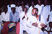 Drummers at nighttime crowd of people people of the Sahel region, northern Nigeria, 1980