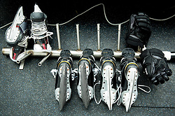 Shoes drying after the practice session of Slovenian Men's National Ice Hockey Team before EIHC tournament 2015 in Wien, on February 3, 2015 in Ledna dvorana, Bled, Slovenia. Photo by Vid Ponikvar / Sportida