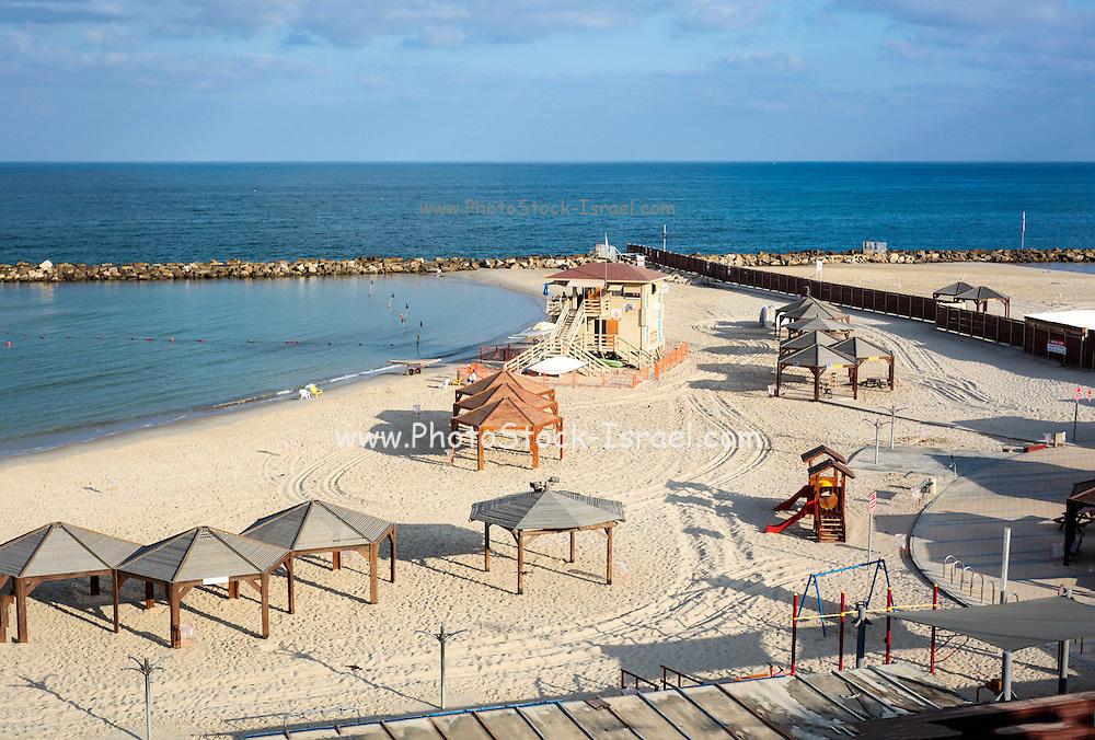 Israel, Tel Aviv, The empty mediterranean beach front