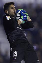 April 19, 2018 - Valencia, Valencia, Spain - Oier of Levante UD catches the ball during the La Liga game between Levante UD and Malaga CF at Ciutat de Valencia on April 19, 2018 in Valencia, Spain  (Credit Image: © David Aliaga/NurPhoto via ZUMA Press)