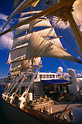 A look onboard of a clipper ship as it sails through the Mediterranean Sea, of the coast of Italy
