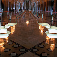 Africa, Morocco, Casablanca. The floor of the Hassan II Mosque in Casablanca, with windows above the cleansing area.
