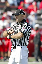 02 October 2010: Umpire Mike Stumberg during an NCAA football game where the Southern Illinois Salukis beat the Illinois State Redbirds 3817 at Hancock Stadium in Normal Illinois.