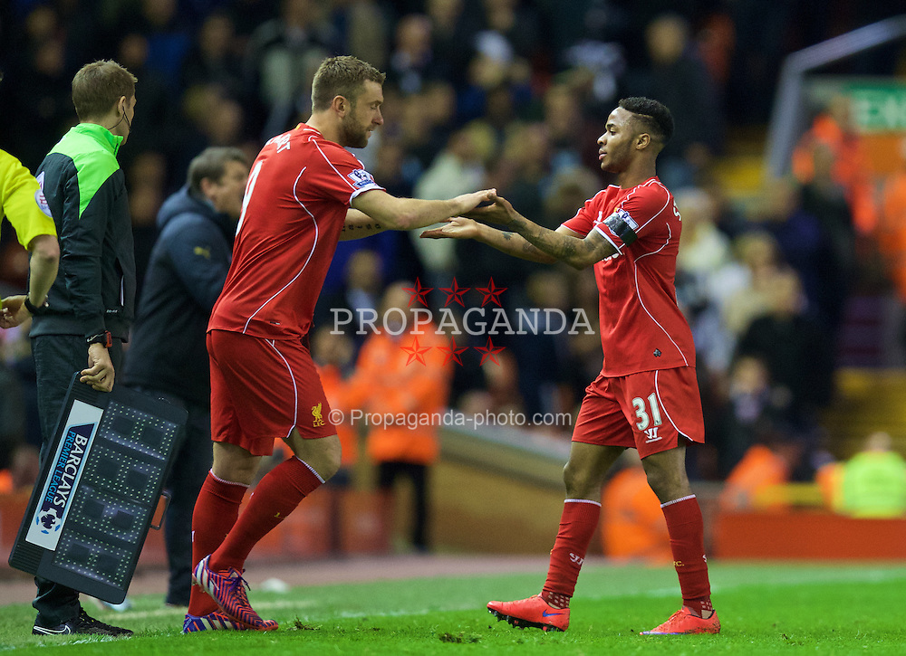 LIVERPOOL, ENGLAND - Monday, April 13, 2015: Liverpool's Raheem Sterling is replaced by substitute Rickie Lambert against Newcastle United during the Premier League match at Anfield. (Pic by David Rawcliffe/Propaganda)
