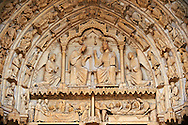 West Facade, right Royal Portal - General View of Tympanum c. 1145. Cathedral of Chartres, France . Tympanum - Virgin and Child enthroned, flanked by angels..Upper Lintel - the Presentation at the Temple.Lower Lintel - Nativity Scenes (The Annunciation to the Virgin, the Visitation, the Nativity, Annunciation to the Shepherds).Inner archivolt - angels..Outer archivolts - Liberal Arts and their associated scribes. (See discussion in Katzenellenbogen, pp. 15-21 and in Kidson, pp. 20-1). On the bottom left are the Zodiac signs of Pisces and Gemini . A UNESCO World Heritage Site. . .<br /> <br /> Visit our MEDIEVAL ART PHOTO COLLECTIONS for more   photos  to download or buy as prints https://funkystock.photoshelter.com/gallery-collection/Medieval-Middle-Ages-Art-Artefacts-Antiquities-Pictures-Images-of/C0000YpKXiAHnG2k